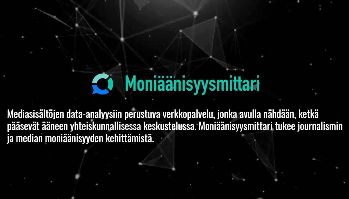 Moniäänisyysmittarin logo ja lyhyt sanallinen selostus palvelusta